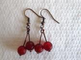 Red Ruby Copper Tone Cherry Earrings July Birthstone