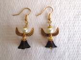 Purple Glass Flower Pearly Angel Fairy Gold Tone Earrings