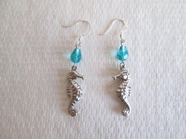 Silver Seahorse Charm and Blue Glass Drop Summer Earrings