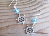 Silver Ship Wheel Charm and Blue Fire Polish Glass nautical Earrings