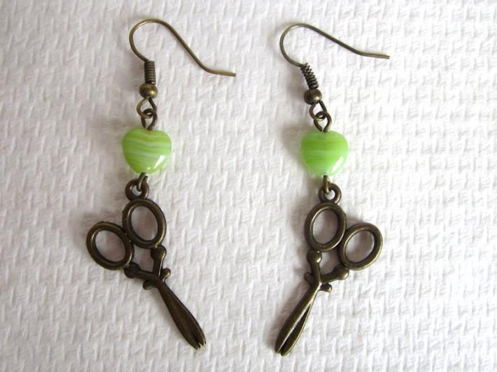 Antiqued Bronze Victorian Scissors Charm and Light Green Glass Heart Earrings