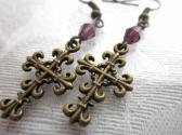 Gothic Crucifix Cross and Purple Crystal Antique Bronze Tone Earrings