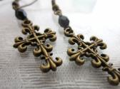 Gothic Crucifix Cross and Black Fire Polished Bead Antique Bronze Tone Earrings