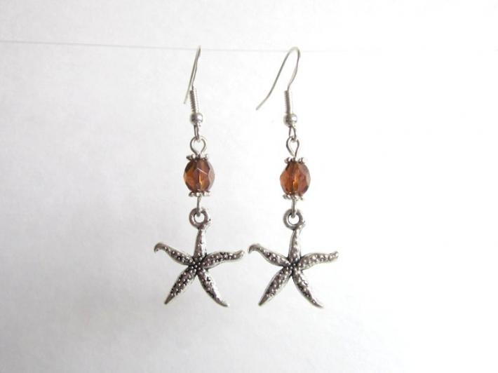 Starfish and Brown Fire Polished Glass Silver Tone Charm Earrings
