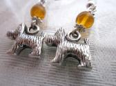 Silver Miniature Schnauzer Dog Charm and Orange Druk Glass Bead Silver Tone Earrings