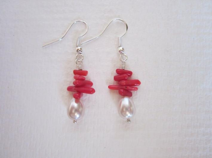 Red Coral Chip and Pearl Silver Tone Earrings