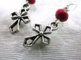 Silver Tone Gothic Crucifix Cross and Red Crystal Earrings