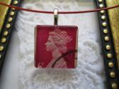 Red Purple Queen Elizabeth UK Postage Stamp Square Glass Tile Top Red Choker Pendant