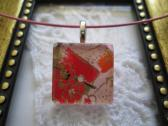 Pink and Red Japanese Washi Paper Square Glass Tile Top Choker Pendant