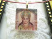 Indian Deity Saint Square Glass Tile Top Choker Pendant