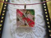 Pink Red and Green Bird Japanese Washi Square Glass Tile Top Choker Pendant