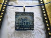Blue Monticello US Postage Stamp Square Glass Tile Top Choker Pendant