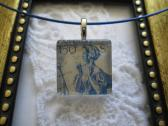 Blue Austrian Lady Postage Stamp Square Glass Tile Top Choker Pendant