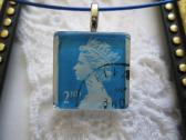 Blue Queen Elizabeth English Postage Stamp Square Glass Tile Top Blue Choker Pendant