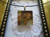 Jimi Hendrix US Postage Stamp Square Glass Tile Top Choker Pendant