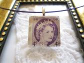 canadian Purple Queen Elizabeth Postage Stamp Square Glass Tile Top Choker Pendant