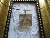 German Ludwigsterin Castle Postage Stamp Square Glass Tile Top Choker Pendant
