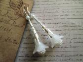 Frosted White Flower and Clustered Pearl Long Silver Filigree Earrings