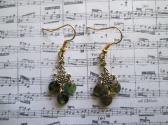 Green and Brown Czech Picasso Lentil Glass Tiny Chandelier Gold Tone Earrings
