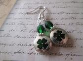Four Leaf Clover Shamrock St Patrick Day Charm Silver and Green Earrings