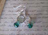 Emerald Green Faceted Ceystal and Silver Ring Charm Earrings