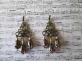 Golden Lined Black Czech Glass Tulip and Filigree Chandelier Bronze Tone Earrings