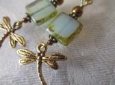 Seafoam Green Czech Picasso Square Glass and Dragonfly Charm Gold Tone Earrings