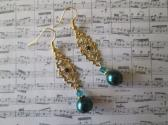 Peacock Blue Green Glass Pearl Crystal and Filigree Connector Gold Tone Earrings