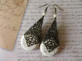 White Howlite Turquoise and Cathedral Filigree Cone Antique Bronze Tone Earrings