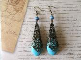 Oval Howlite Turquoise and Cathedral Filigree Cone Antique Bronze Tone Earrings