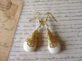 Handmade Golden Filigree Cap Wrapped White Translucent Stone Bead Earrings