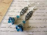 Peacock Blue Czech Glass Flower and Art Nouveau Style Filigree Charm Earrings