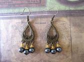 Handmade Silvery Back Glass Pearl Antlique Bronze Tear Drop Chandelier Earrings