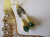 Golden Filigree and Green Czech Glass Lily Flower Art Nouveau Style Earrings