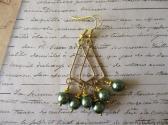 Silvery Moss Green Glass Pearl Gold Tone Chandelier Earrings