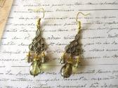 Light Amber Czech Glass Drop Art Nouveau Style Antique Gold Chandelier Earrings