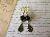 Black to Dark Brown Round Onix Gemstone Bead Vintage Style Gold Tone Earrings