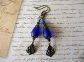 Cobalt Blue Frosted Sea Glass Drop and Filigree Charm Antiqued Bronze Earrings