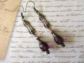 Purple Czech Glass and Art Nouveau style Charm Antique Bronze Tone Earrings