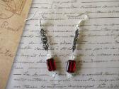 Red Rectangle Czech Glass and Crystal Art Deco Sterling Ear Wire Long Earrings