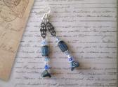 Sapphire Blue Czech Glass Rectangle and Flower Earrings with Art Nouveau Filigree