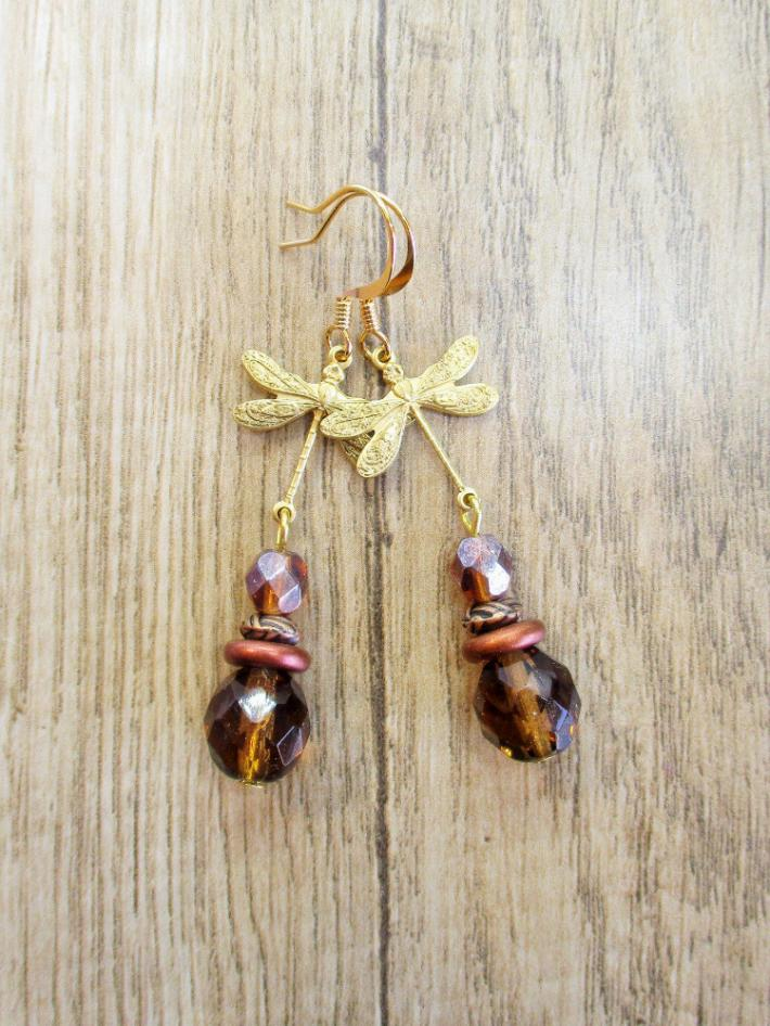 Light Brown Czech Glass and Gold Dragonfly Charm Earrings
