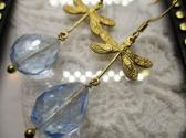 Light Blue Faceted Czech Glass Drop and Gold Dragonfly Charm EarringsEarrings