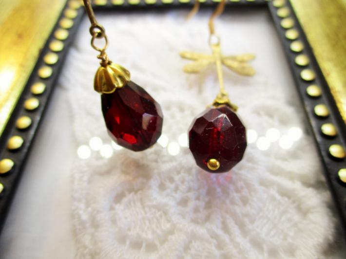 Deep Red Czech Faceted Drop Glass and Gold Dragonfly Charm Earrings