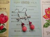 Round Faceted Pink Jade and Silver Dragonfly Charm Earrings