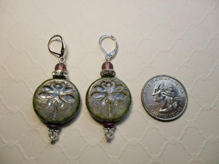 Yellowish Green Czech Picasso Dragonfly Coin Bead Silver Tone Earrings