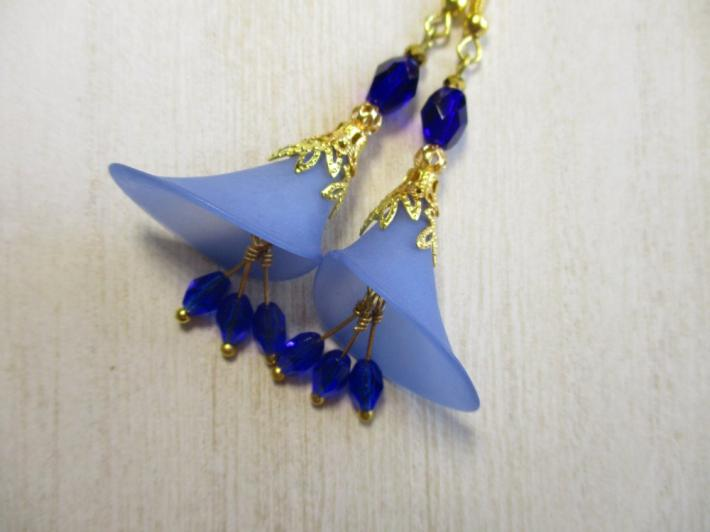 Blue Calla Lily Flower and Czech Glass Gold Tone Earrings