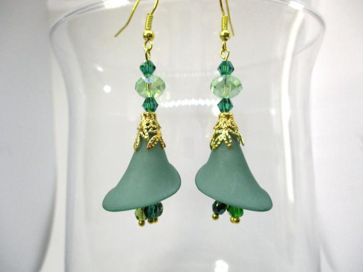 Moss Green Calla Lily Flower and Crystal Gold Tone Earrings