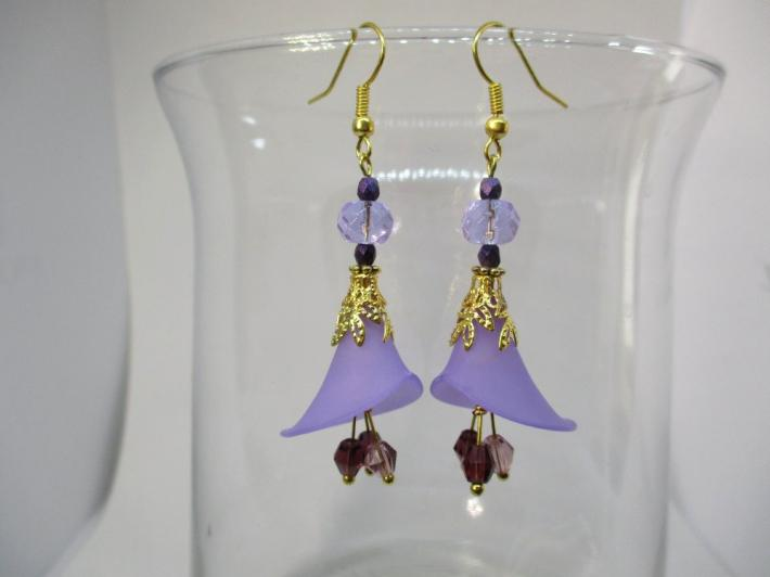 Purple Calla Lily Flower and Crystal Gold Tone Earrings