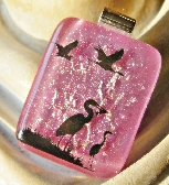 Tropical Birds Black Silhouette Image Pink Dichroic Fused Glass Bird Pendant